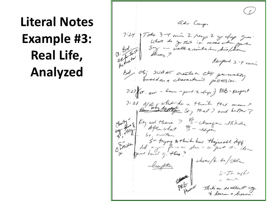 Literal Notes Example #3: Real Life, Analyzed