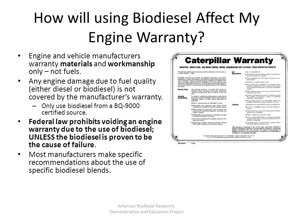 How will using Biodiesel Affect My Engine Warranty