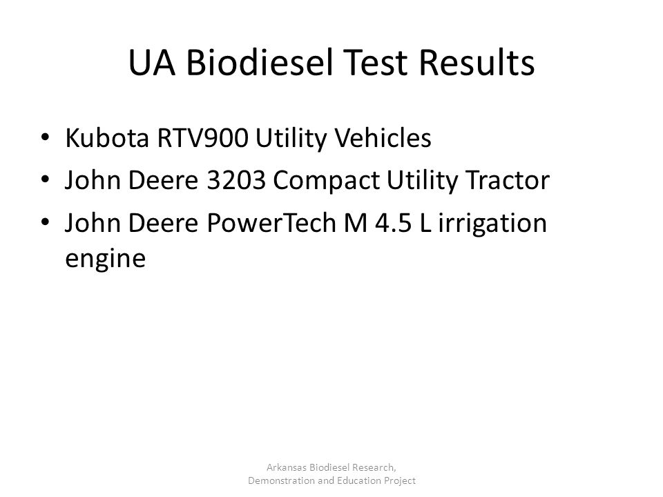 UA Biodiesel Test Results