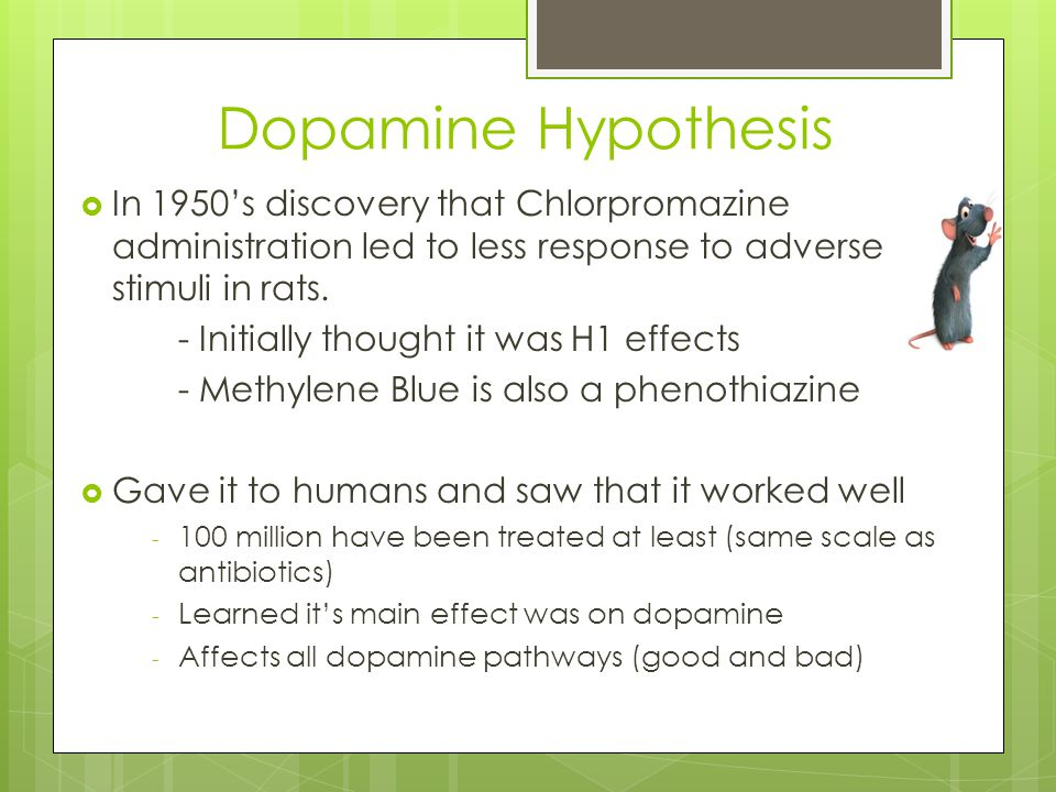 Dopamine Hypothesis In 1950's discovery that Chlorpromazine administration led to less response to adverse stimuli in rats.
