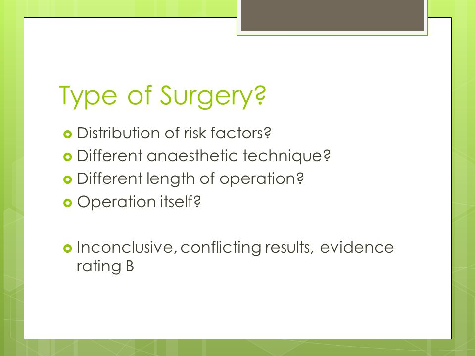 Type of Surgery Distribution of risk factors