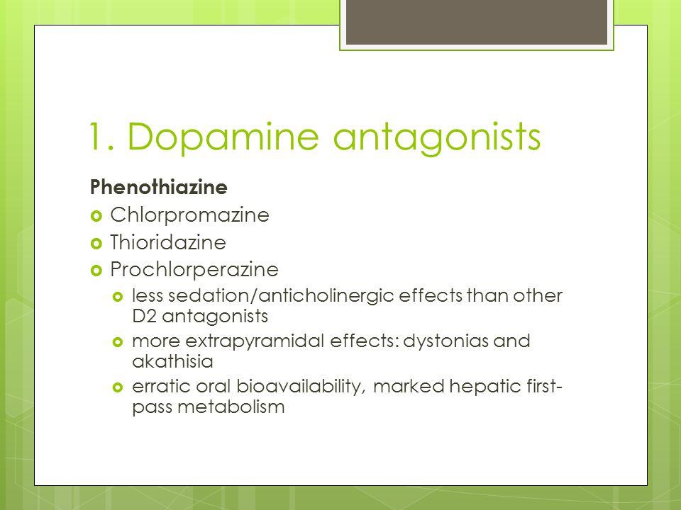 1. Dopamine antagonists Phenothiazine Chlorpromazine Thioridazine