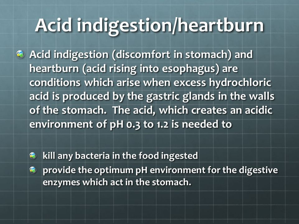 Acid indigestion/heartburn