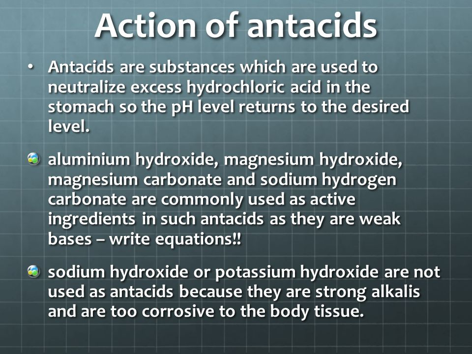 Action of antacids