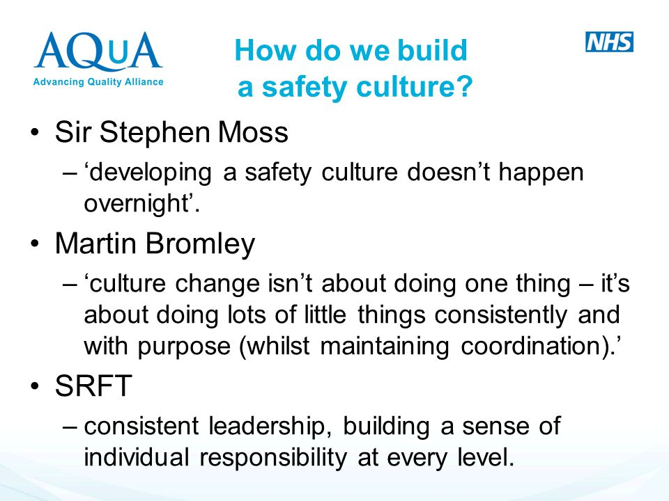 How do we build a safety culture