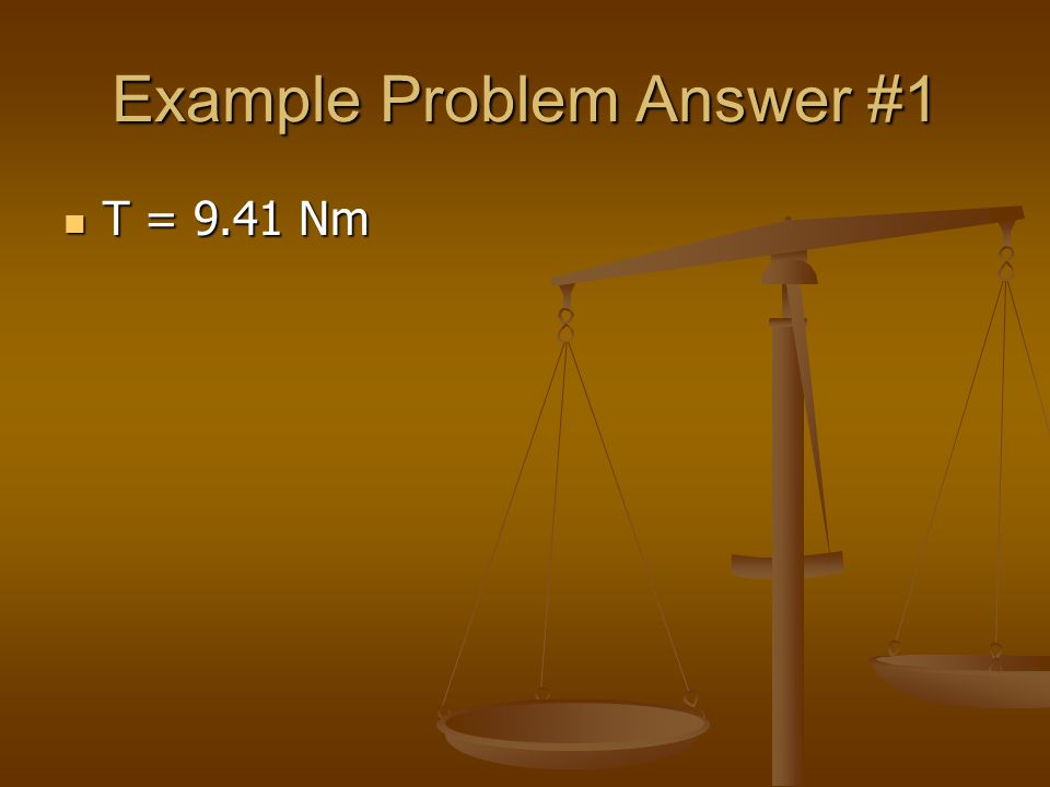 Example Problem Answer #1