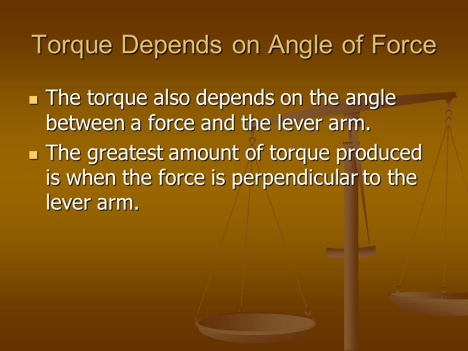 Torque Depends on Angle of Force
