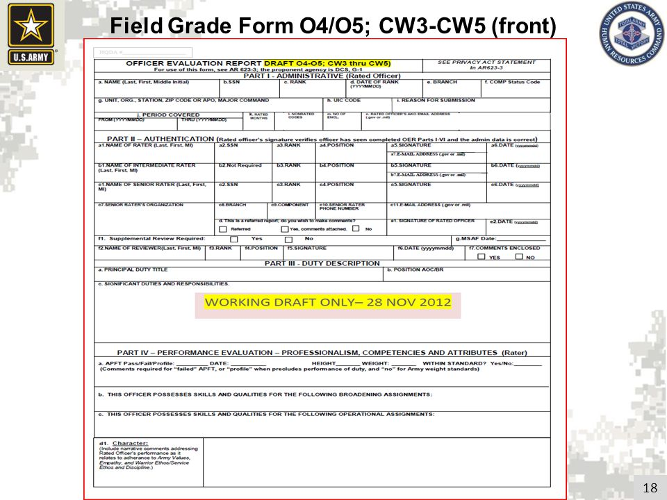 Field Grade Form O4/O5; CW3-CW5 (front)