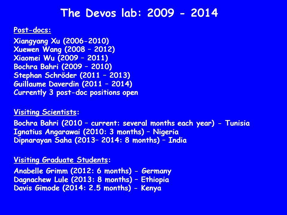The Devos lab: 2009 - 2014 Post-docs: Xiangyang Xu (2006-2010)