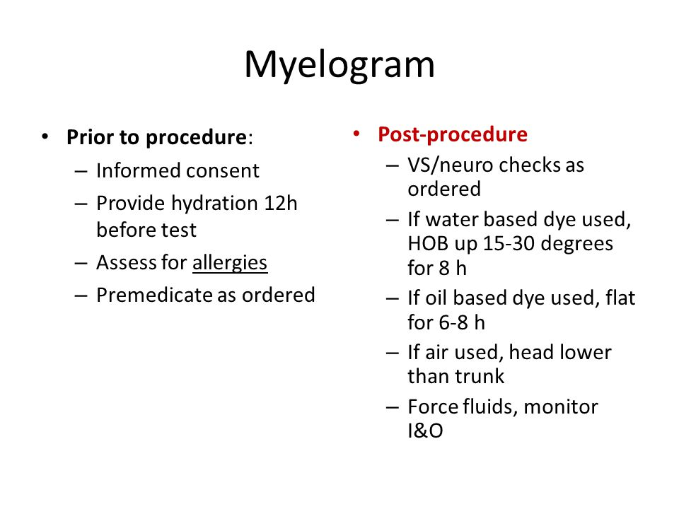 Myelogram Prior to procedure: Post-procedure Informed consent