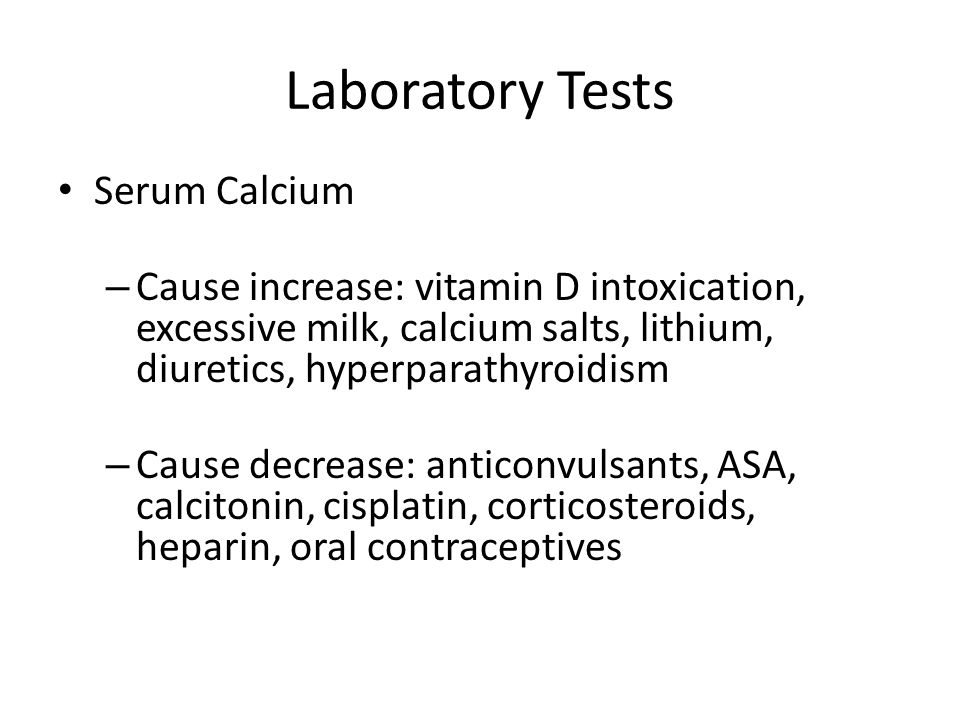 Laboratory Tests Serum Calcium