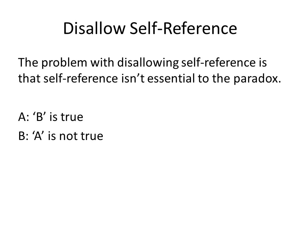 Disallow Self-Reference