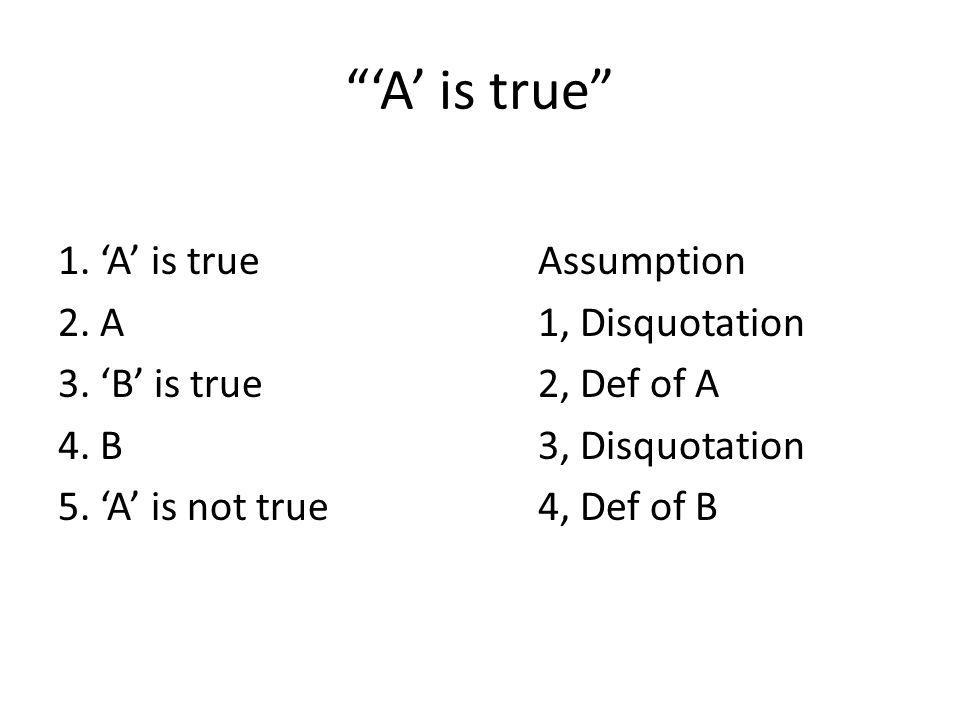 'A' is true 1. 'A' is true Assumption 2. A 1, Disquotation 3.