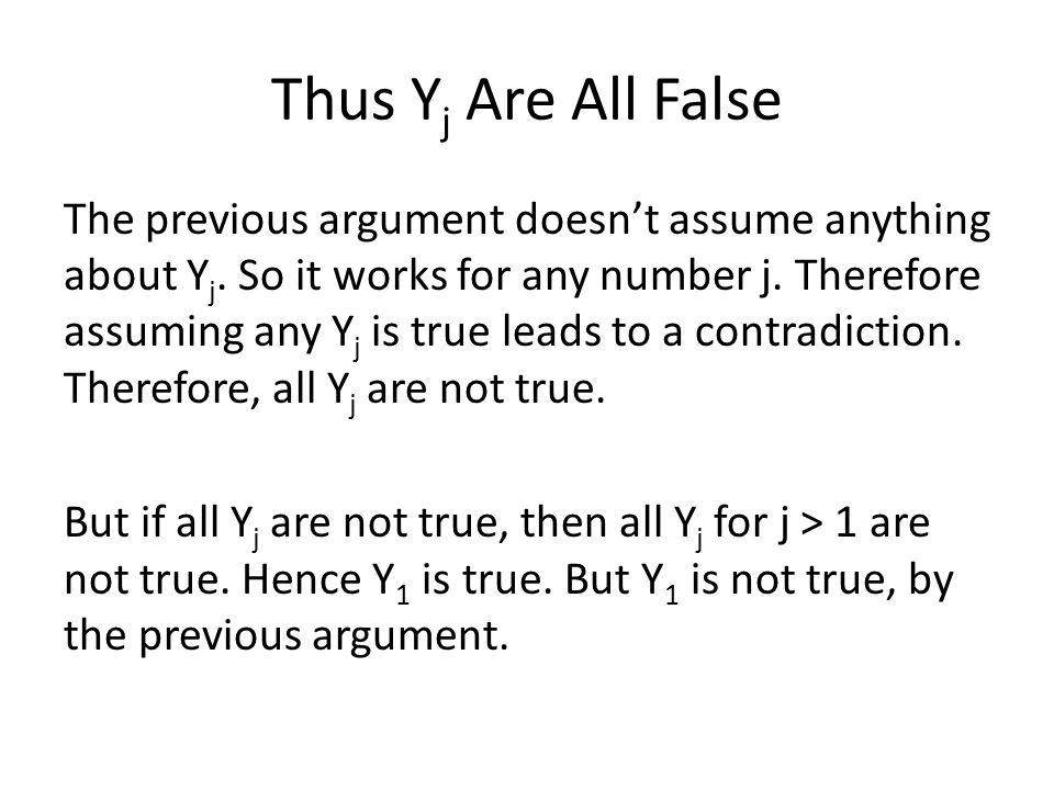 Thus Yj Are All False