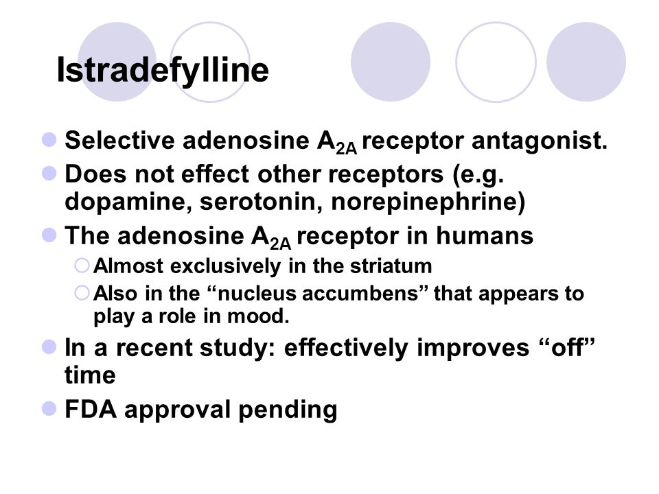 Istradefylline Selective adenosine A2A receptor antagonist.