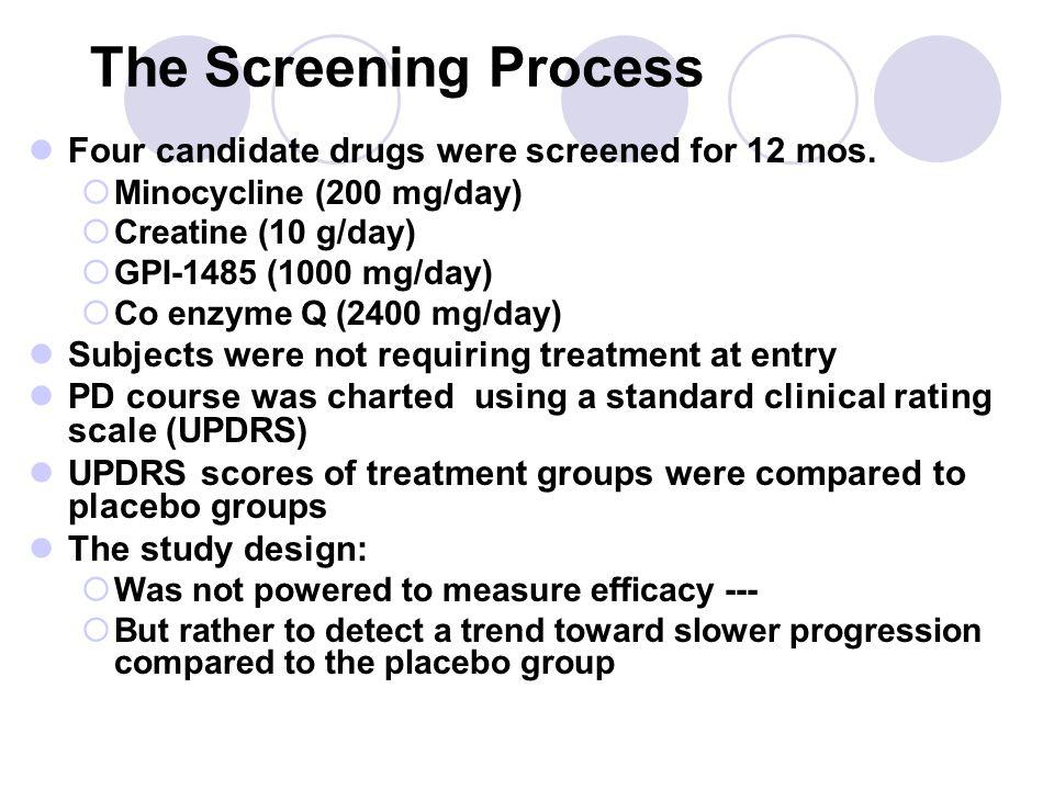 The Screening Process Four candidate drugs were screened for 12 mos.