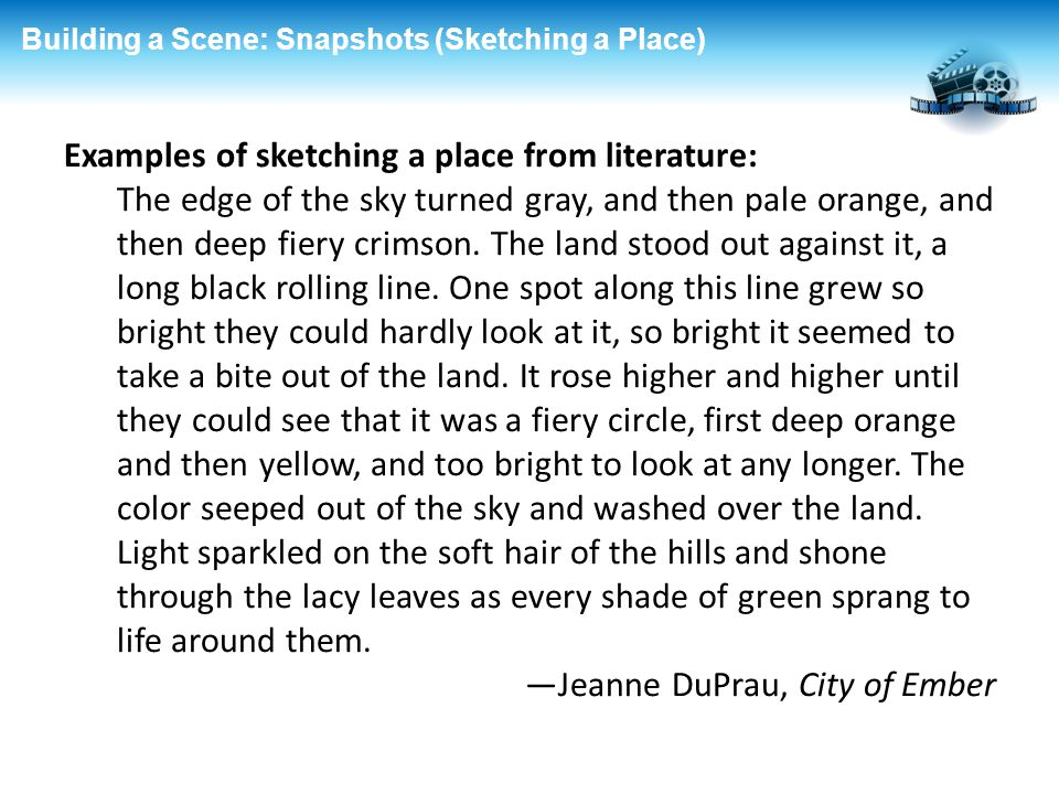 Examples of sketching a place from literature: