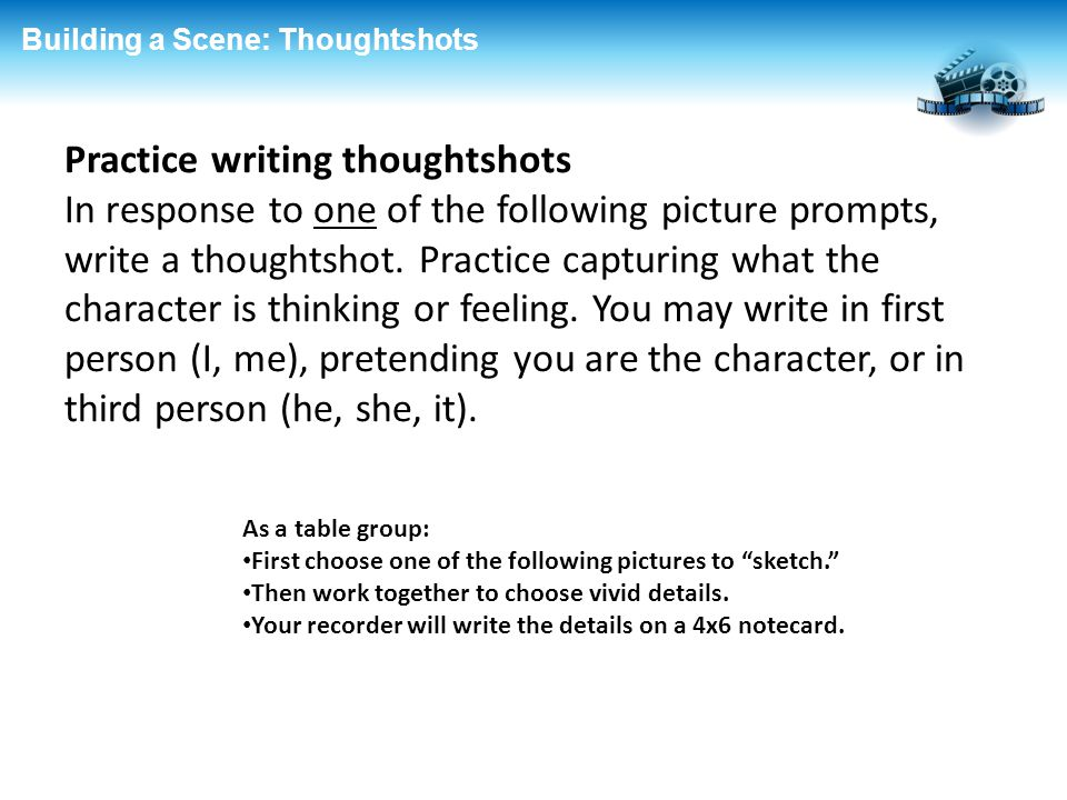 Practice writing thoughtshots