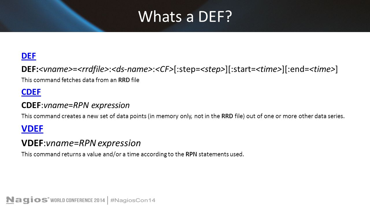 Whats a DEF VDEF VDEF:vname=RPN expression DEF