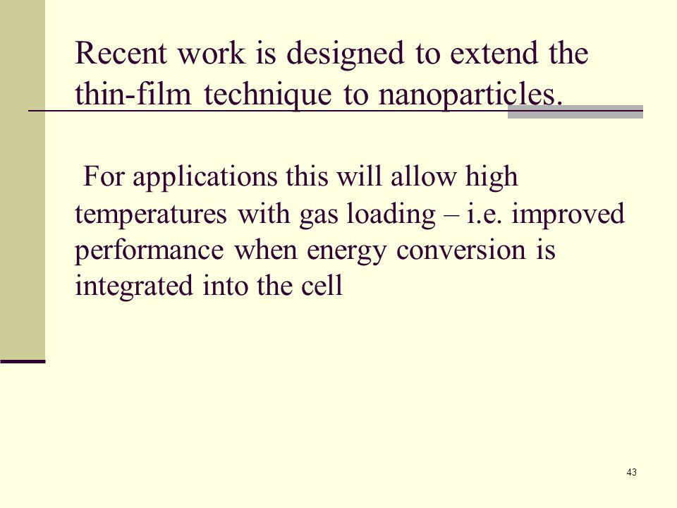 Recent work is designed to extend the thin-film technique to nanoparticles.