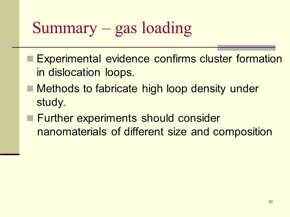 Summary – gas loading Experimental evidence confirms cluster formation in dislocation loops. Methods to fabricate high loop density under study.