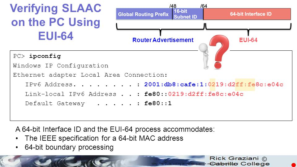 Verifying SLAAC on the PC Using EUI-64