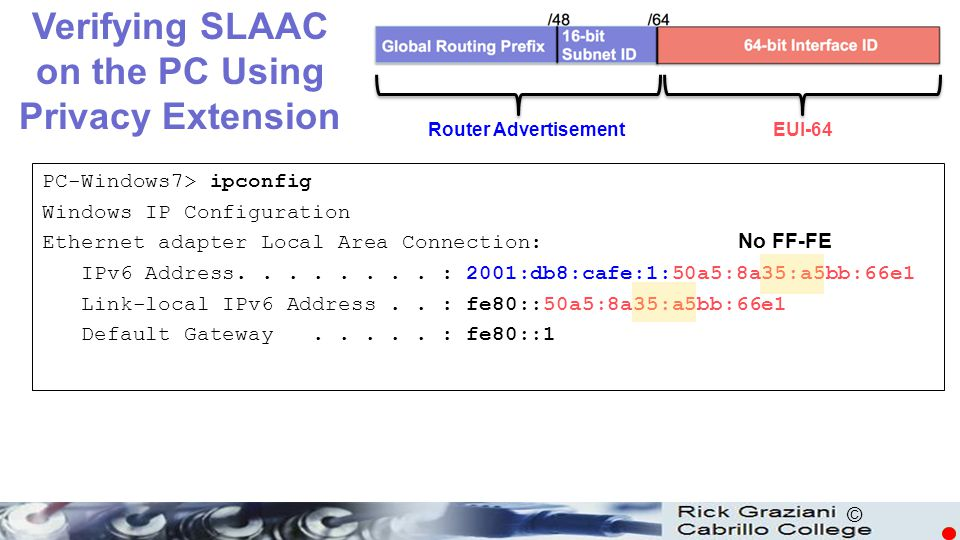 Verifying SLAAC on the PC Using Privacy Extension