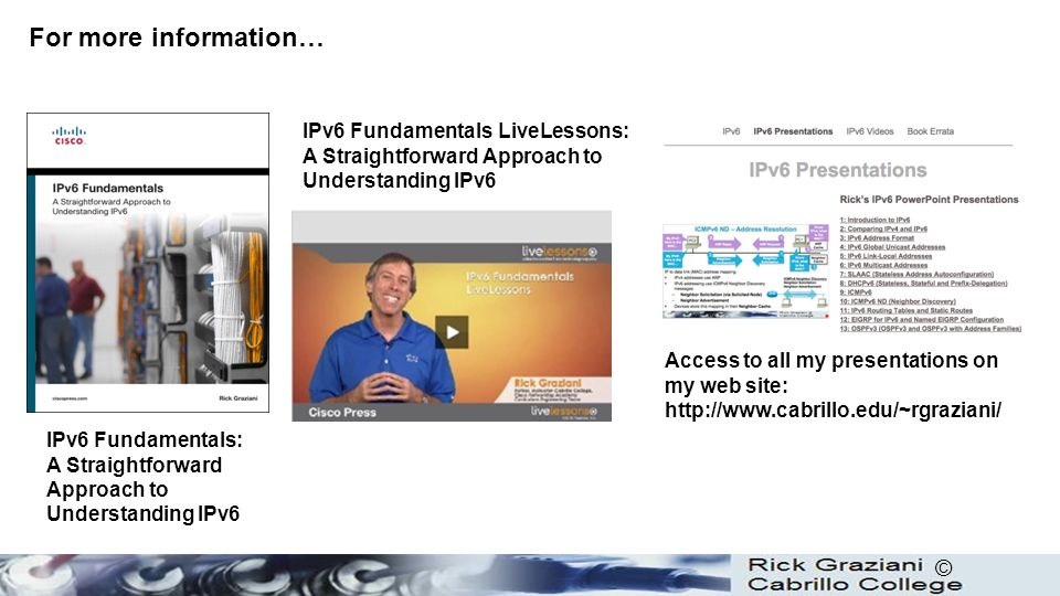 For more information… IPv6 Fundamentals LiveLessons: A Straightforward Approach to Understanding IPv6.
