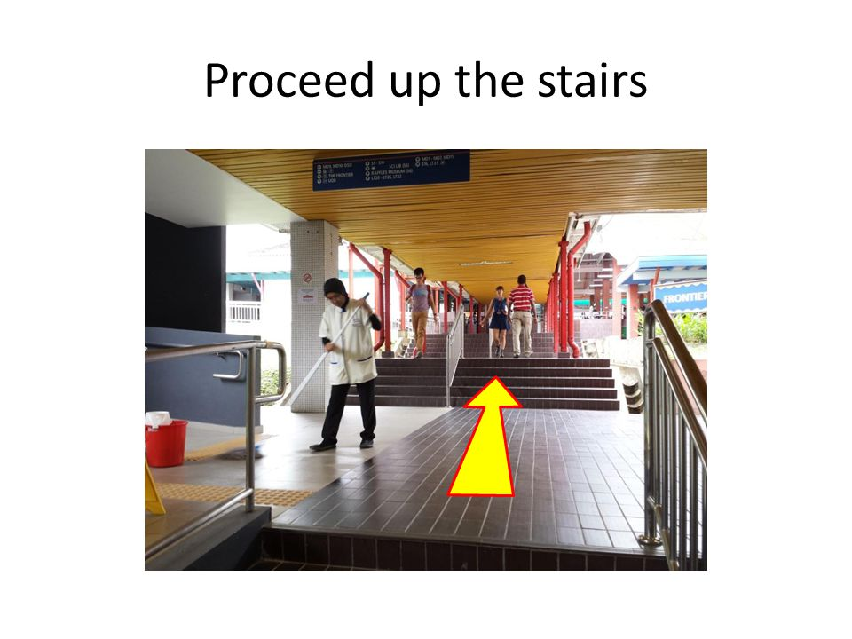 Proceed up the stairs