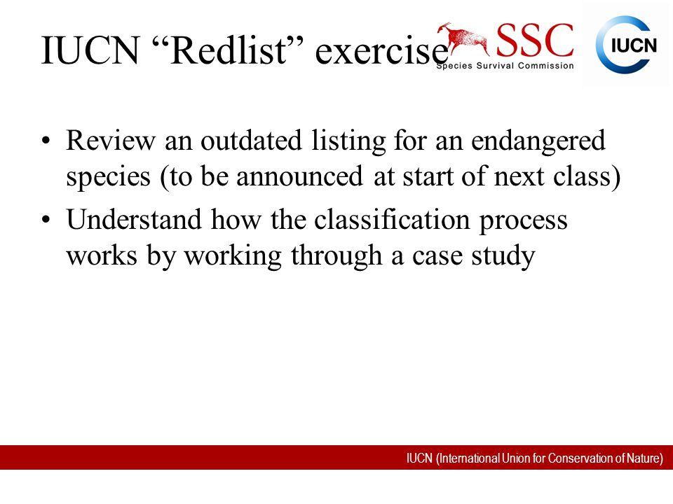 IUCN Redlist exercise