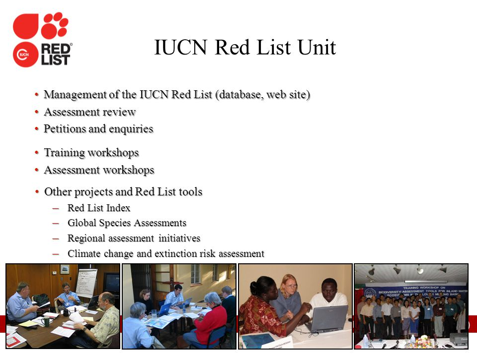 IUCN Red List Unit Management of the IUCN Red List (database, web site) Assessment review. Petitions and enquiries.