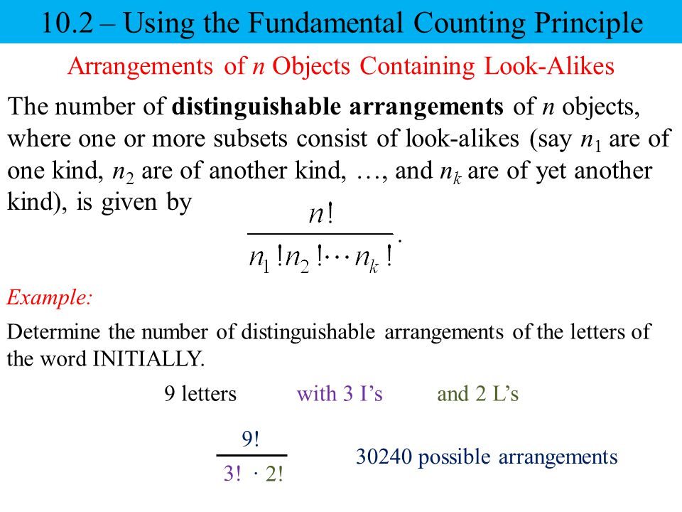 10.2 – Using the Fundamental Counting Principle