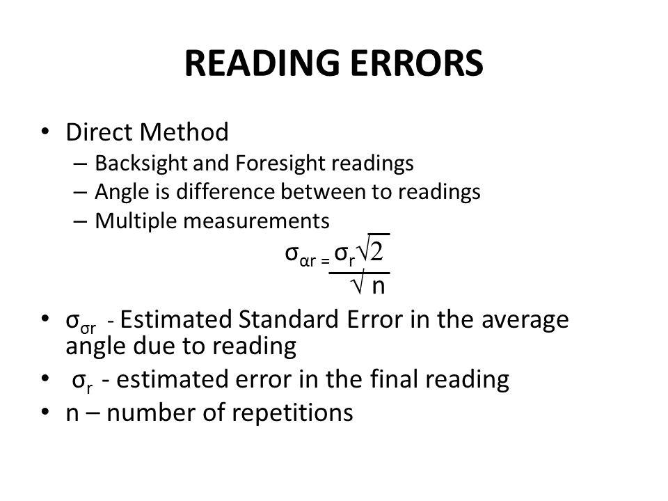 READING ERRORS Direct Method σαr = σr√2 √ n