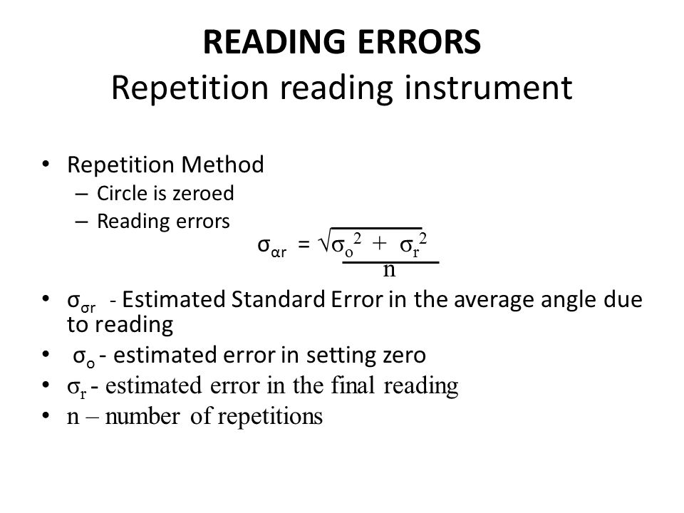 READING ERRORS Repetition reading instrument