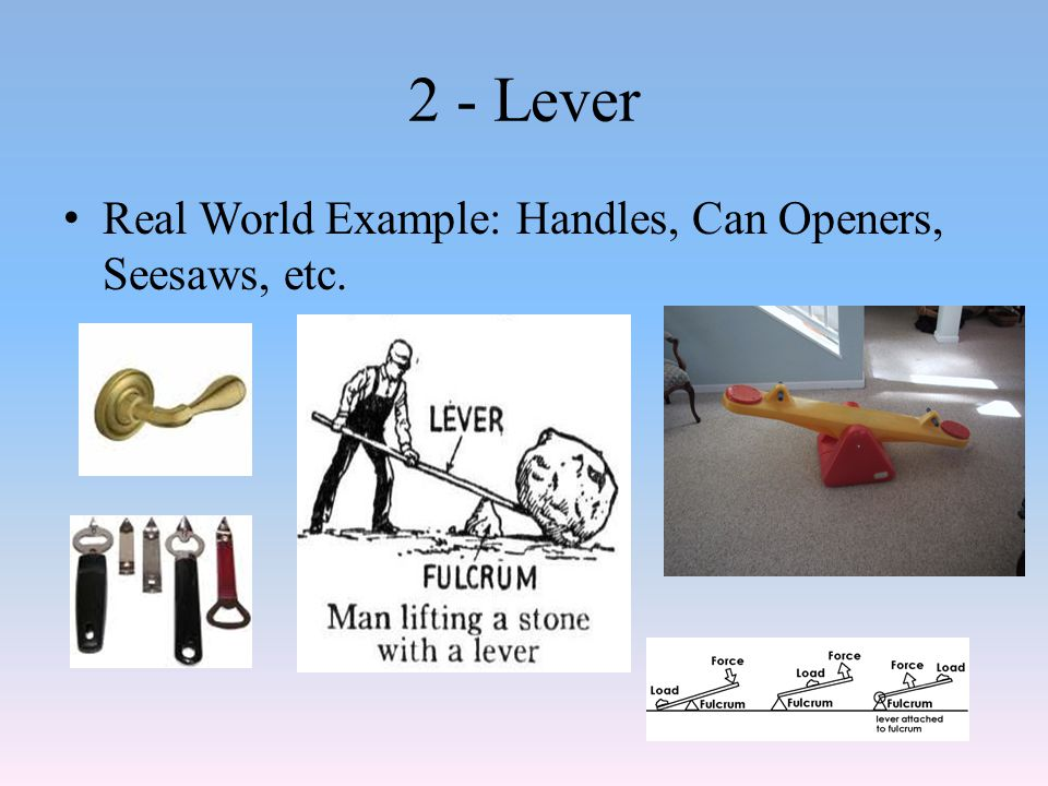 2 - Lever Real World Example: Handles, Can Openers, Seesaws, etc.