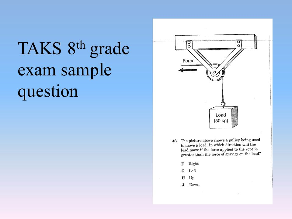 TAKS 8th grade exam sample question