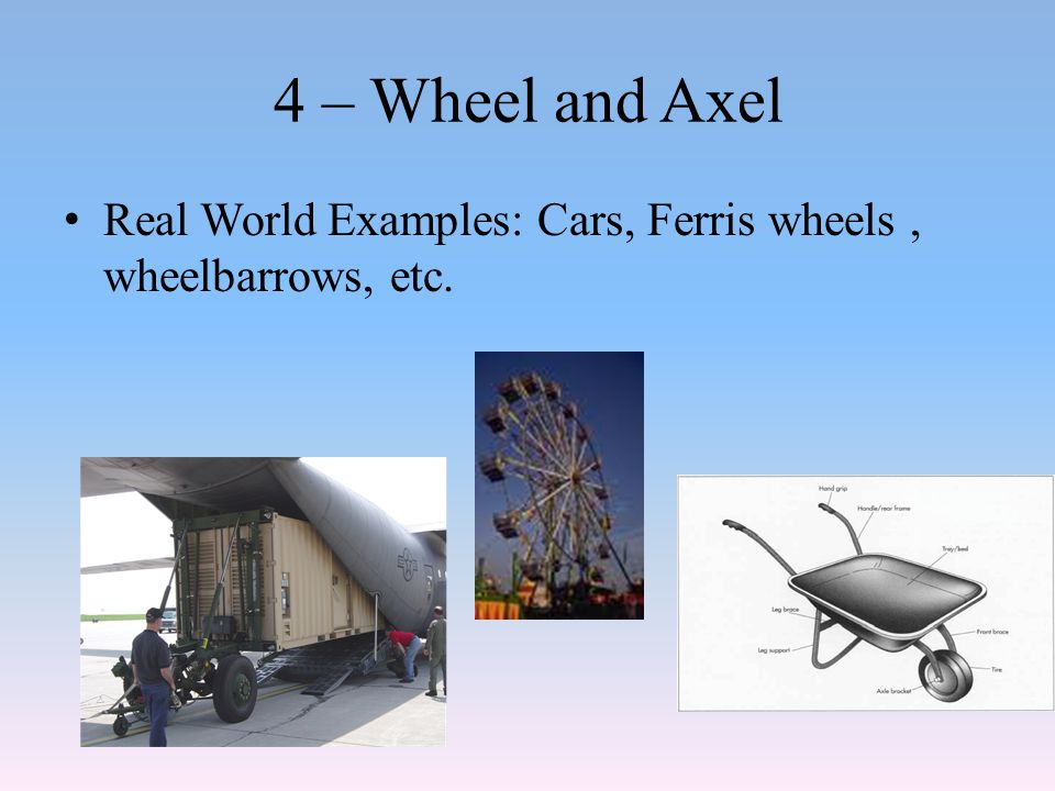 4 – Wheel and Axel Real World Examples: Cars, Ferris wheels , wheelbarrows, etc.