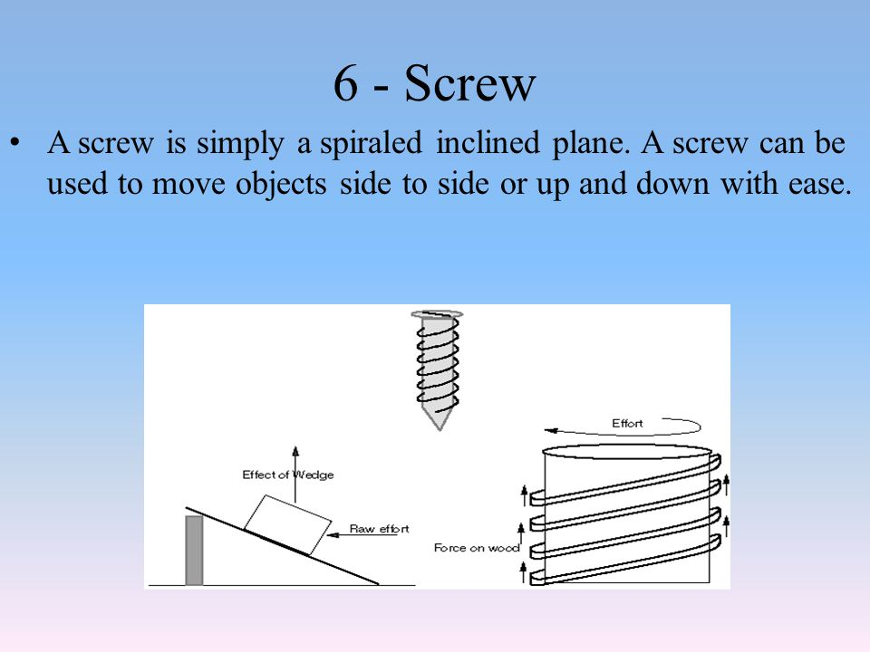 6 - Screw A screw is simply a spiraled inclined plane.