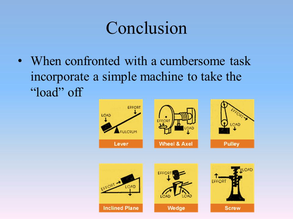 Conclusion When confronted with a cumbersome task incorporate a simple machine to take the load off.