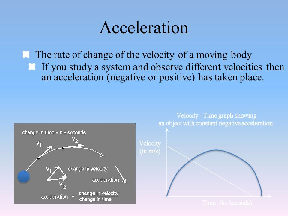 Acceleration The rate of change of the velocity of a moving body