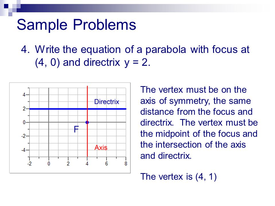 Sample Problems 4. Write the equation of a parabola with focus at (4, 0) and directrix y = 2.