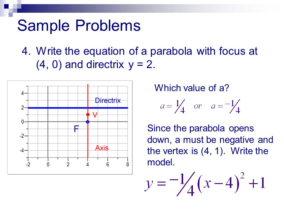 Sample Problems 4. Write the equation of a parabola with focus at (4, 0) and directrix y = 2. Which value of a