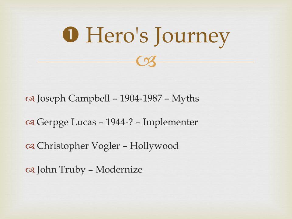  Hero s Journey Joseph Campbell – 1904-1987 – Myths