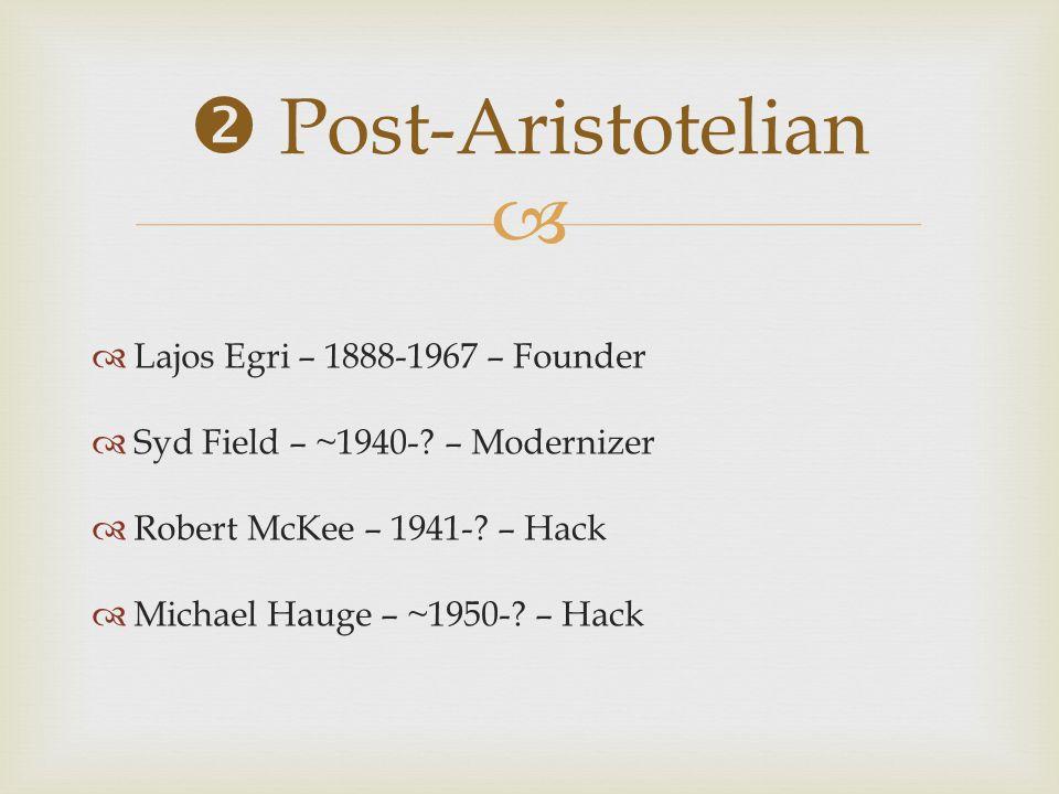  Post-Aristotelian Lajos Egri – 1888-1967 – Founder