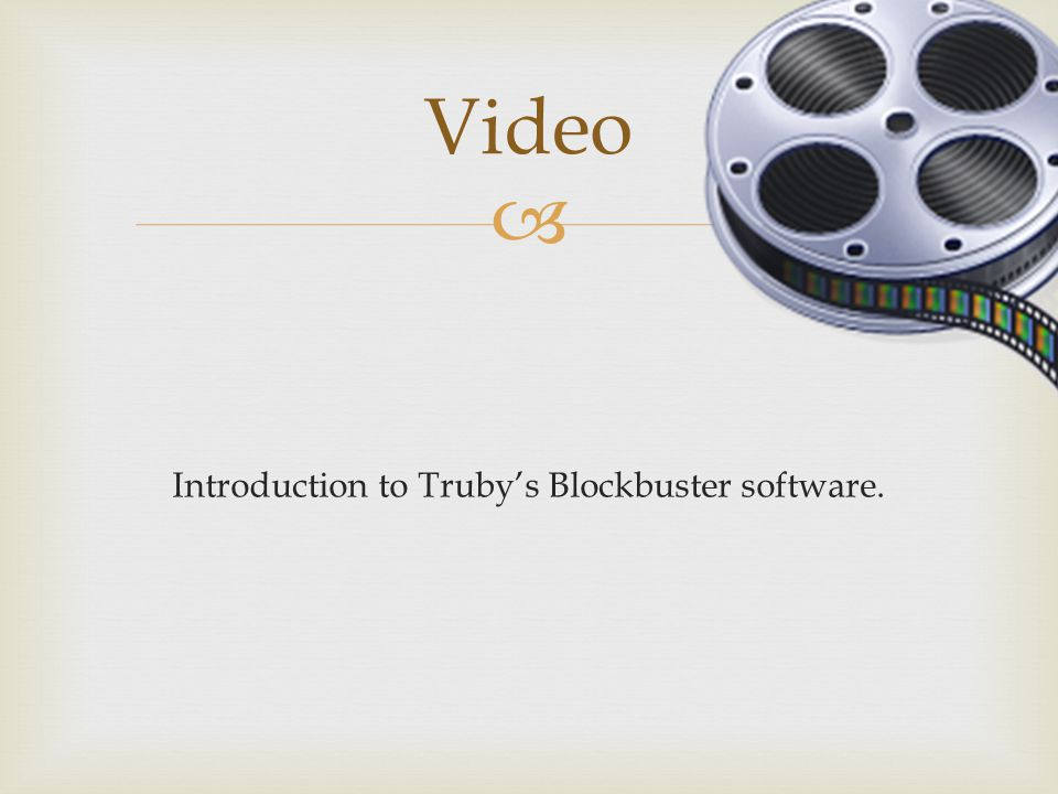 Introduction to Truby's Blockbuster software.