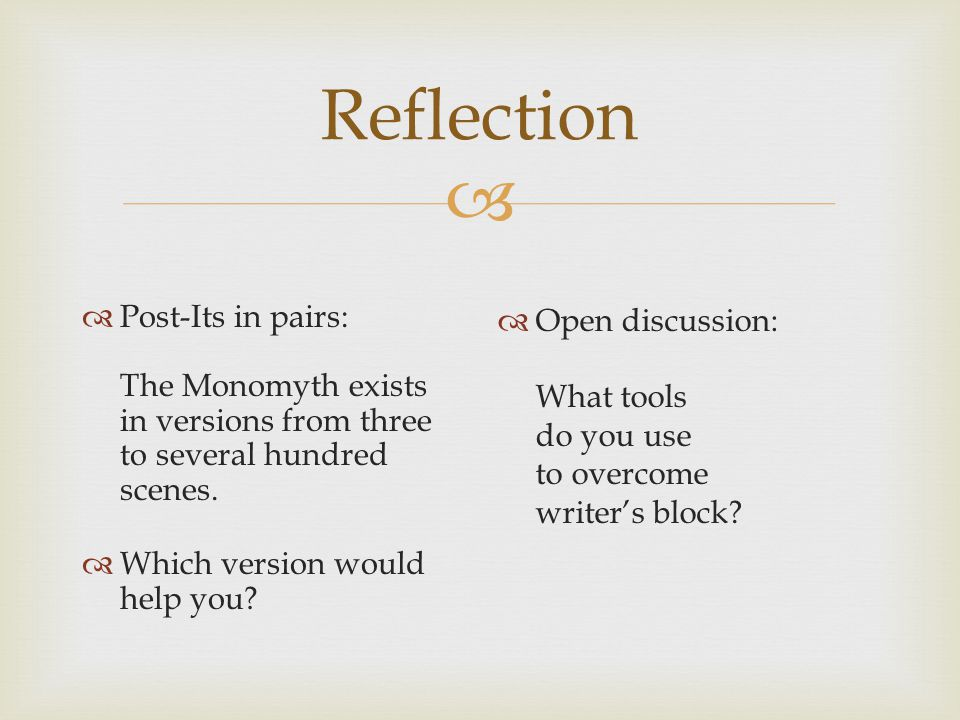 Reflection Post-Its in pairs: The Monomyth exists in versions from three to several hundred scenes.