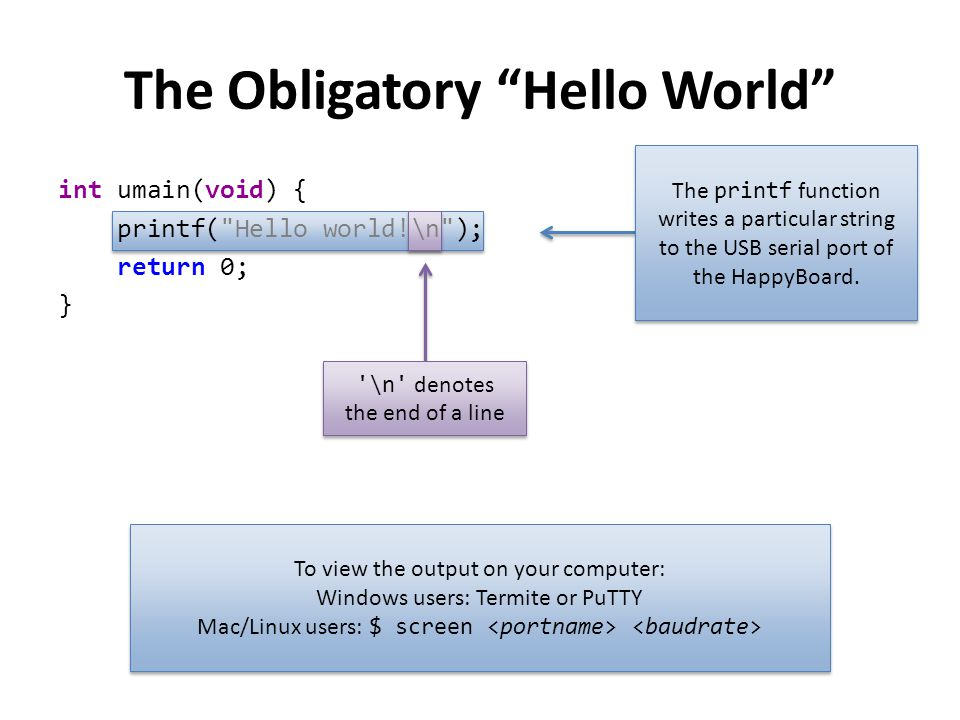 The Obligatory Hello World