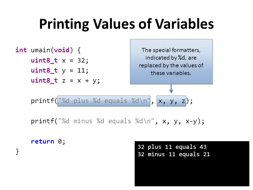 Printing Values of Variables