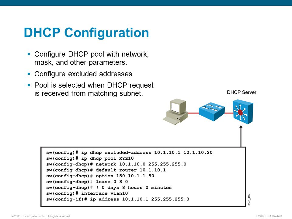 DHCP Configuration Configure DHCP pool with network, mask, and other parameters. Configure excluded addresses.