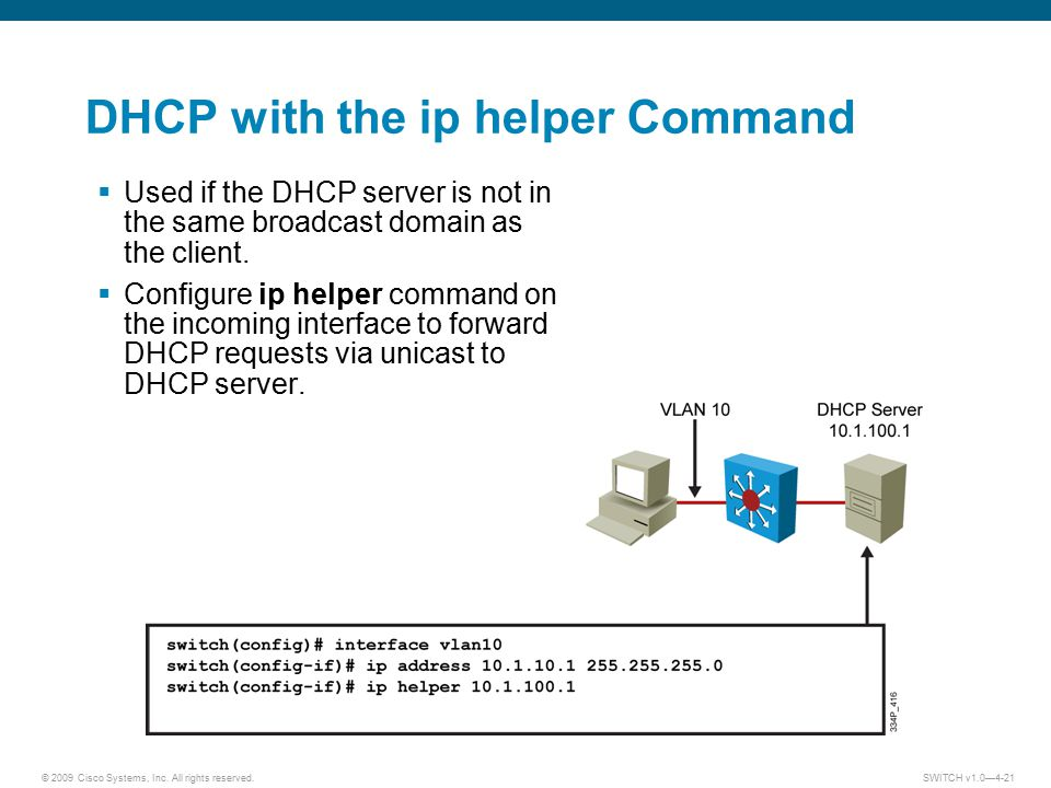 DHCP with the ip helper Command